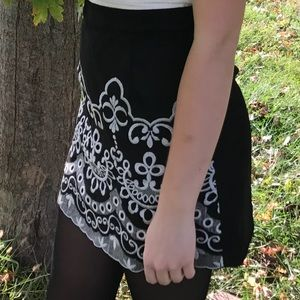 Black Skirt with Stitched Design